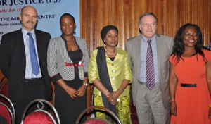 From left; Jeff Ansell, Justice For All Programme; Fagboyo Margaret, DFID Regional Program officer; Risikat Akiyode Perm. Sec Ministry of Women Affairs & Poverty Alleviation, Lagos State; Dr. Bob Arvot Nat, Prog. Manager J4A and Mrs. Itoro Eze-Anaba, Managing Partner, Partnership for Justice at the event, in Lagos.