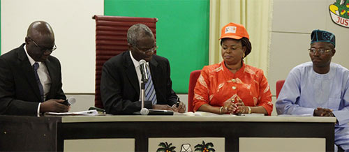 agos State Governor, Mr. Babatunde Fashola, SAN (2nd left) signing the Executive Order Establishing a Sex Offenders' Register at the Banquet Hall, Lagos House Ikeja, on Monday, December 1, 2014. With him are: His Deputy, Hon. (Mrs) Adejoke Orelope-Adefulire (2nd right), Attorney-General and Commissioner for Justice,  Mr. Ade Ipaye (left) and the Chairman, House Committee on Works and Infrastructure, Hon. Rotimi Olowo (right).