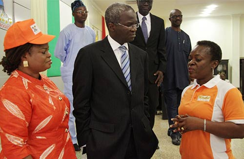 Gov Babatunde Fashola, SAN,  (middle) flanked by his Deputy, Hon. (Mrs) Adejoke Orelope-Adefulire (left) and the Managing Partner, Partnership for Justice, Mirabel Centre, Itoro Eze-Anaba (right) during he event.