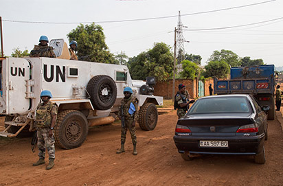 UN Mission in the Central African Republic(MINUSCA) and the National Police during a joint operation in the capital Bangui. Photo: UN.